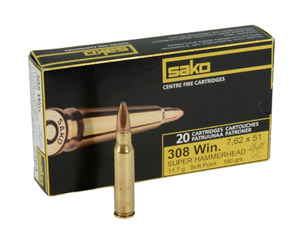 Sako 308 WIn 180gr Super Hammerhead Rifle Ammunition