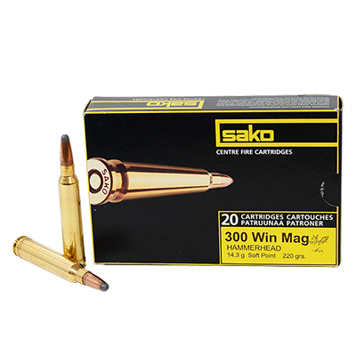 Sako 300 WIn Mag 220 gr HAMMERHEAD Rifle Ammunition- 20 per box PC33028A