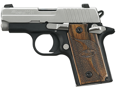 SAS, Two-Tone, Dehorning, SLITE Night Sights, Brown Goncalo Checkered Wood Grips 238-380-SAS