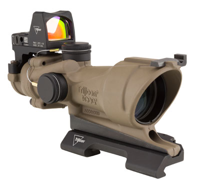 Trijicon TA01-ECOS ACOG 4x32 Dark Earth Brown, Center Illum Amber Crosshair 223 Ballistic Reticle w/ - Trijicon ACOG