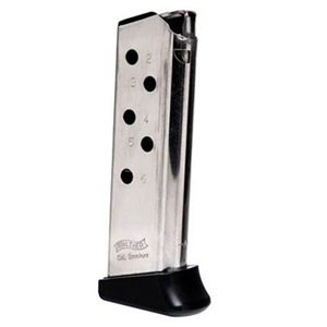 Walther PPK .380 ACP 6rd Nickel Finger Rest Magazine 2246010